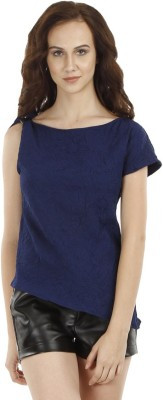 Fuziv Casual Sleeveless Solid Women's Blue Top