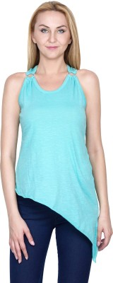 Golden Couture Casual, Festive, Formal, Lounge Wear, Party Sleeveless Solid Women's Light Blue Top