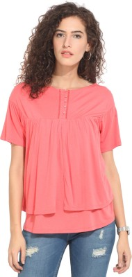Hook & Eye Casual Short Sleeve Solid Women's Pink Top