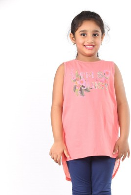 Pinky Ponky Casual Sleeveless Solid Girl's Pink Top