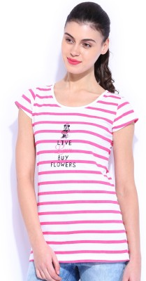Kook N Keech Disney Casual Short Sleeve Striped Women's White, Pink Top