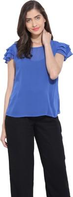 Ama Bella Casual Short Sleeve Solid Women's Blue Top