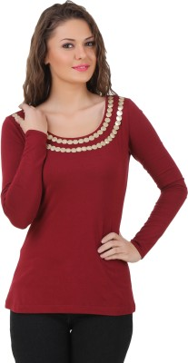 Texco Casual Full Sleeve Solid Women's Maroon Top at flipkart