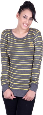 Oner Party, Casual, Sports, Festive Full Sleeve Solid, Striped Women's Grey, Yellow Top