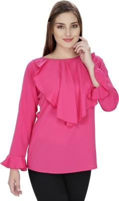 Pops N Pearls Casual Full Sleeve Solid Women's Pink Top