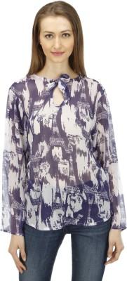 1OAK Casual Full Sleeve Printed Women's Blue Top