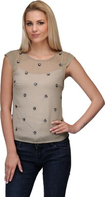 Curvy Q Casual Short Sleeve Solid, Embellished Women's Grey Top