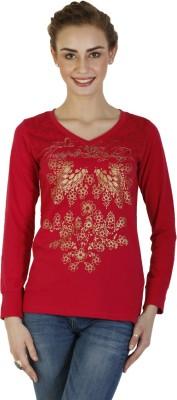 Duke Stardust Casual Full Sleeve Printed Women's Red Top