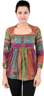 Dessara Festive 3/4 Sleeve Printed Women's Multicolor Top