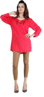 Pret a Porter Casual Full Sleeve Embellished Women's Red Top