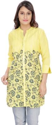 Franclo Casual 3/4 Sleeve Self Design Women's Yellow Top