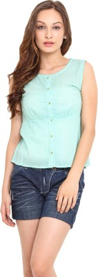 Instacrush Casual Sleeveless Solid Women,s Light Green Top