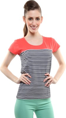 Miss Chase Casual Short Sleeve Striped Women's Orange Top