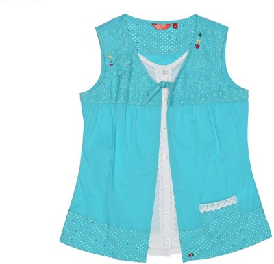 Elle Casual Sleeveless Solid Girl's Light Blue Top