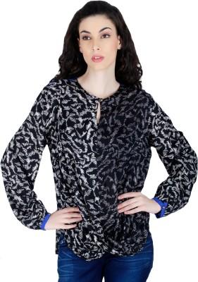 LAWMAN Casual Full Sleeve Printed Women's Black Top