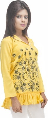 Retaaz Casual, Party, Festive 3/4 Sleeve Graphic Print Girl's Yellow Top