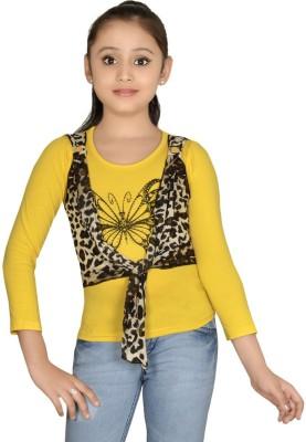 ABHIRA Casual 3/4 Sleeve Embellished Girl's Yellow Top