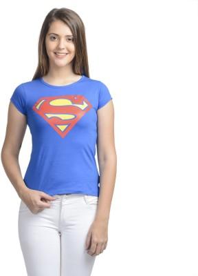 Supergirl Casual Short Sleeve Printed Women,s Dark Blue Top