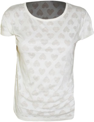 Groviano Casual Short Sleeve Self Design Women's White Top