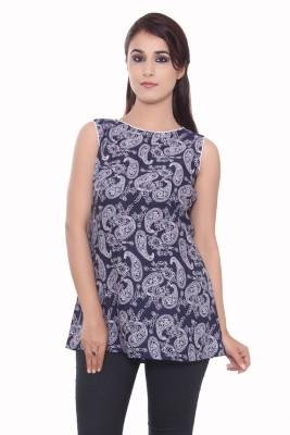 GMI Casual Sleeveless Printed Women's Dark Blue, White Top