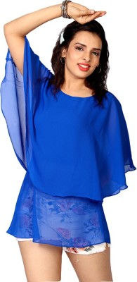 IRTALUCY Casual Cape Sleeve Solid Women's Blue Top