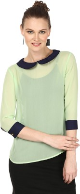 Pour Femme Casual 3/4 Sleeve Solid Women's Light Green Top