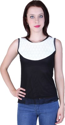 Zavi Casual Sleeveless Solid Women's Black, White Top