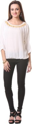 Oghaindia Casual Short Sleeve Solid Women's White Top