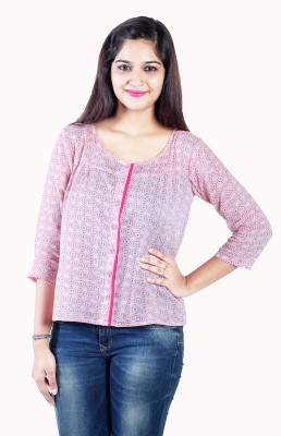 Aggana Casual 3/4 Sleeve Printed Women's Pink Top