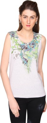 Bedazzle Casual Sleeveless Floral Print, Striped Women's White Top at flipkart