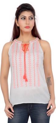Liwa Casual Sleeveless Solid Women's White Top