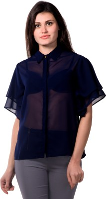 Miss Chase Party Short Sleeve Solid Women's Dark Blue Top at flipkart