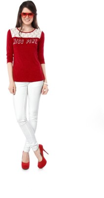 Miss Pink Casual 3/4 Sleeve Solid Girl's Red Top