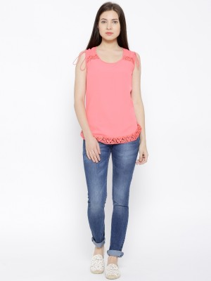 Citrine Casual Sleeveless Solid Women's Pink Top