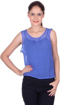 CHKOKKO Casual Sleeveless Solid Women's Blue Top