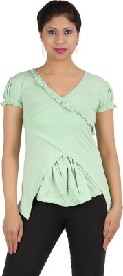 Rishan Casual Puff Sleeve Solid Women's Green Top