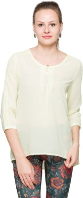 Max Casual 3/4 Sleeve Solid Women's Yellow Top
