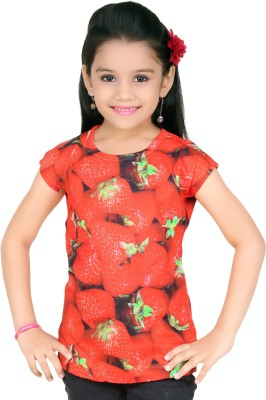 Just Clothes Party Cape Sleeve Printed Girl's Red Top