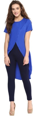 Uptownie Lite Casual Short Sleeve Solid Women's Blue Top