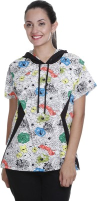 Meiro Formal Short Sleeve Printed Women's White Top at flipkart