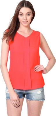 Besiva Formal Sleeveless Solid Womens Pink Top