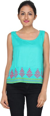 mahala Casual Sleeveless Printed Women,s Blue Top