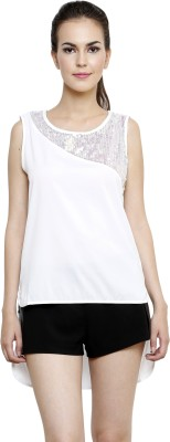 I Am For You Casual Sleeveless Solid, Embellished Women's White Top