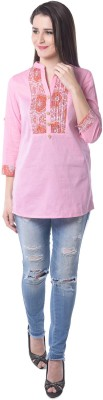 Florrie Fusion Casual Roll-up Sleeve Solid Women's Pink Top