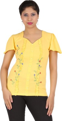 Harsha Casual Short Sleeve Floral Print Women's Yellow Top