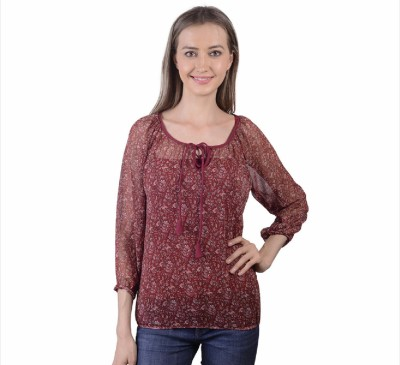 Sei Bello Casual 3/4 Sleeve Printed Women's Maroon Top