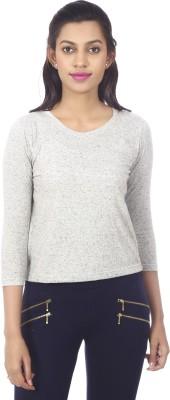 karney Casual 3/4 Sleeve Solid Women's Grey Top