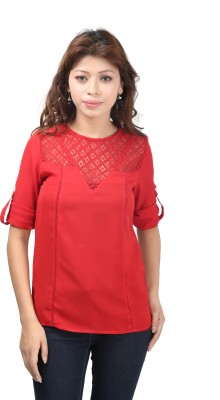 F by Faten Casual Roll-up Sleeve Solid Women's Red, Red Top