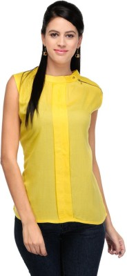 Visach Casual Sleeveless Solid Women's Yellow Top