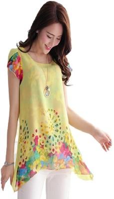 Hari Krishna sarees Casual, Formal Short Sleeve Floral Print Women's Yellow Top